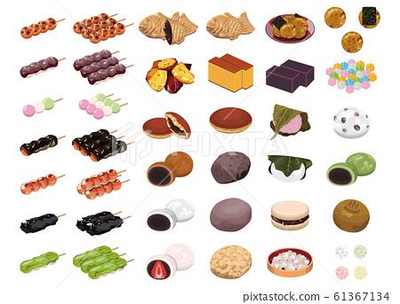 各種日式甜點的插圖(團子,文殊,糯米餅,大燒,銅鑼燒) 61367134