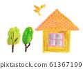 집과 나무와 새 크레용 일러스트 61367199