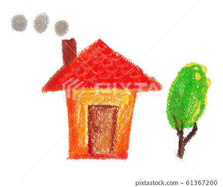 굴뚝있는 집 크레용 일러스트 61367200