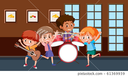 Scene with children playing music in the band 61369939