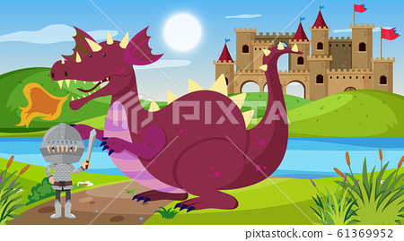 Scene with knight and dragon in fairytale land 61369952