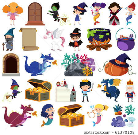 Set of isolated objects theme fairytales 61370108