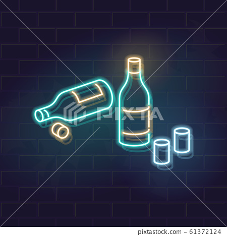 Neon soju bottles on table. View after two friends meeting. Korean drama style illustration. Vector illustration on brick wall background. 61372124