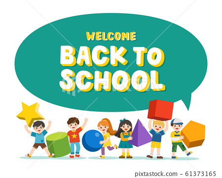 Welcome Back to School. Children with simple geometry forms. 61373165