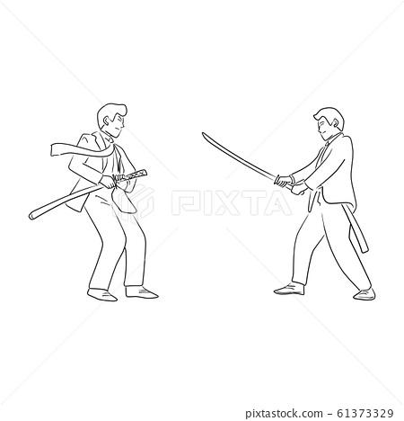 Businessman fighting in Japan martial art vector 61373329