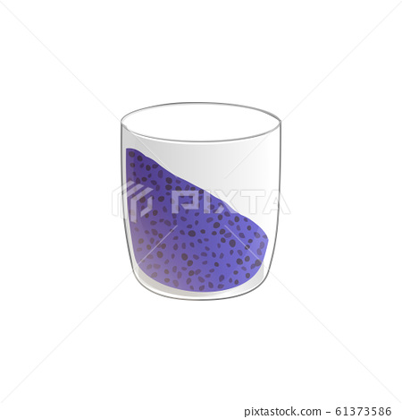 Chia seed pudding. Healthy vegan snack in glass. Vector illstration isolated on white background. 61373586
