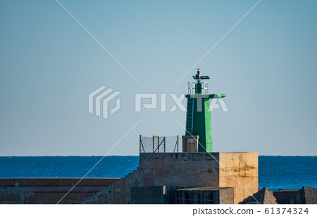 Green painted lighthouse over concrete and clear sky 61374324