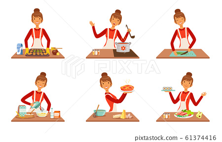 Young Cheerful Woman Cooking and Baking at Home Set, Housewife Preparing Food in the Kitchen Vector Illustration 61374416