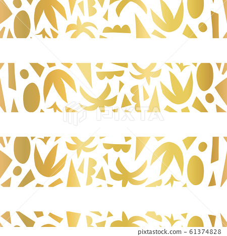 Gold foil tropical stripes seamless vector pattern. Abstract summer paper cut collage shape 61374828