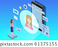 Online coaching education training, workshops and courses. Flat 3d isometric design. Students studying, with smartphone, pile of books icon set and mentor masterclass. Vector illustration isolated 61375155