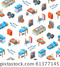 Auto Service 3d Seamless Pattern Background Isometric View. Vector 61377145
