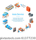 Auto Service 3d Banner Card Circle Isometric View. Vector 61377230