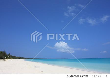 New Caledonia-Ouvea Island beach, sea and blue sky 61377923