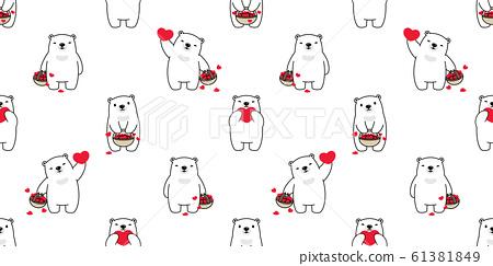 Bear seamless pattern heart valentine vector polar bear teddy basket cartoon scarf isolated repeat wallpaper tile background illustration doodle brown white design 61381849