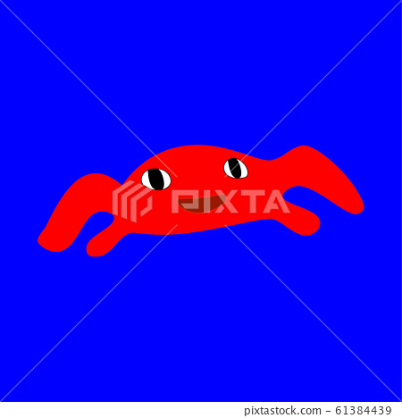 Red crab on the blue background 61384439
