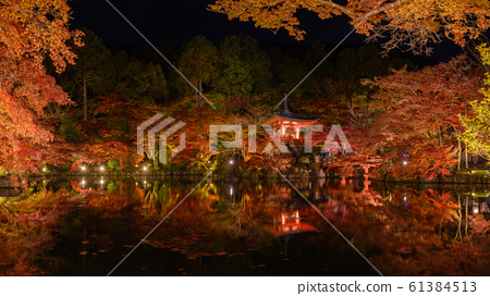 Colorful autumn night, illumination of Daigo-ji temple in Kyoto, Japan 61384513