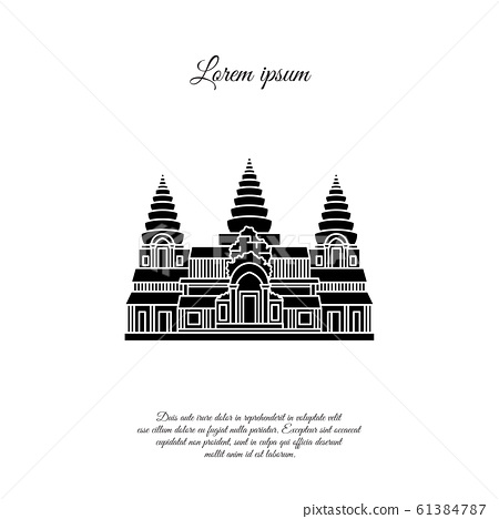 Angkor Wat vector icon isolated on white background, Angkor Wat transparent sign, element design in outline style. Cambodia. Historical Landmarks Symbol. Editable Stroke. black 61384787