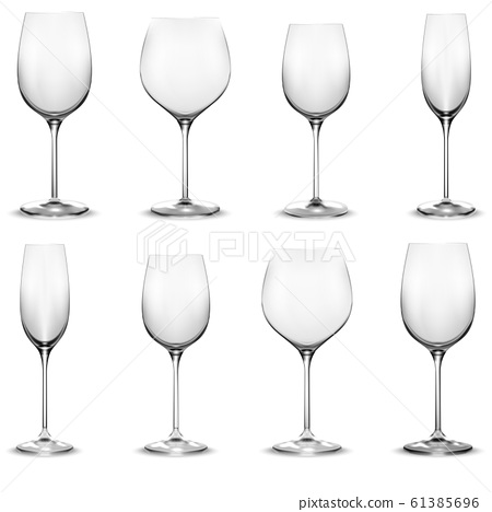 Transparent wine glass set. Wine glasses. Realistic vector 61385696