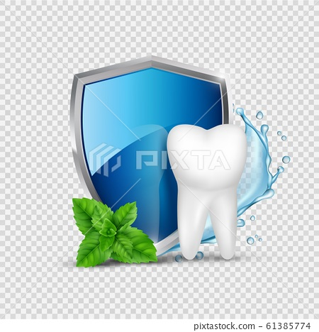 Tooth protection. White tooth, shield and mint, water splash. Dental healthy concept vector illustration 61385774