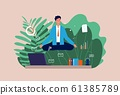 Work meditation. Stressful businessman, yoga character. Manager sitting on office table in lotus pose vector illustration 61385789