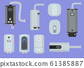 Heater systems. Water boiler house gas station warm technology vector set 61385887