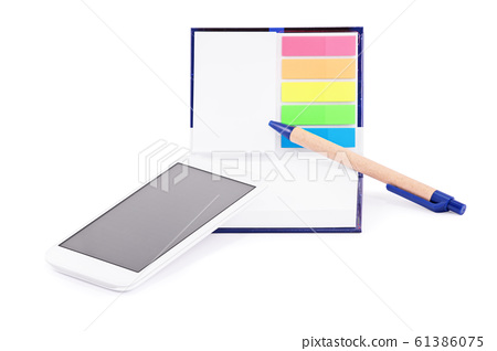 Notebook with colorful page marker stickers, 61386075