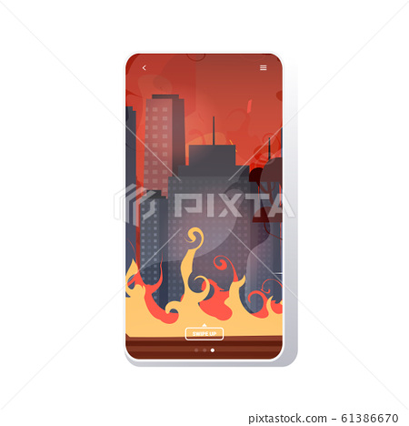 forest fires in australia wildfire city street with skyscrapers bushfire natural disaster concept intense orange flames cityscape background smartphone screen mobile app 61386670