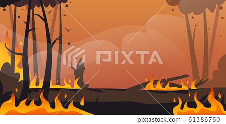 dangerous wildfire bush fire development dry woods burning trees global warming natural disaster ecology problem concept intense orange flames horizontal 61386760