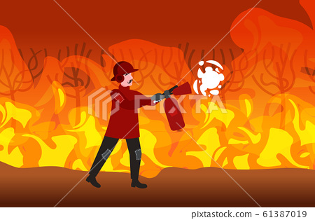 firefighter extinguishing dangerous wildfire bushfire in australia fireman using extinguisher firefighting natural disaster concept intense orange flames horizontal full length 61387019