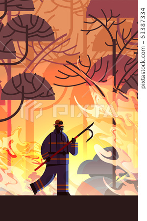 brave firefighter holding scrap extinguishing dangerous wildfire fireman fighting with bush fire firefighting natural disaster concept intense orange flames full length vertical 61387334