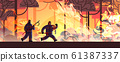 brave firefighters with scrap axe and hose extinguishing dangerous wildfire firemen fighting with bush fire firefighting natural disaster concept intense orange flames horizontal 61387337