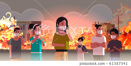 people wearing protective masks dangerous wildfire on city street with burning busidings fire development global warming natural disaster concept intense orange flames cityscape horizontal 61387341