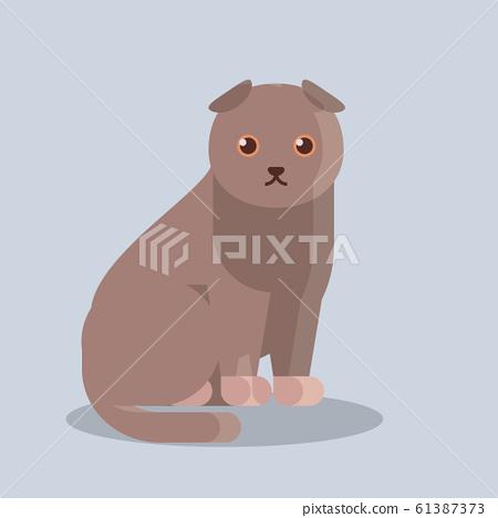 cute cartoon cat icon kitten sitting alone flat 61387373