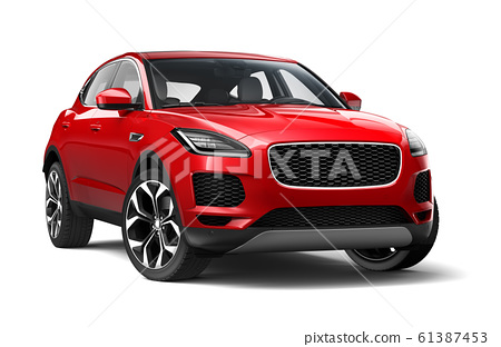 Red Suv on white background 61387453