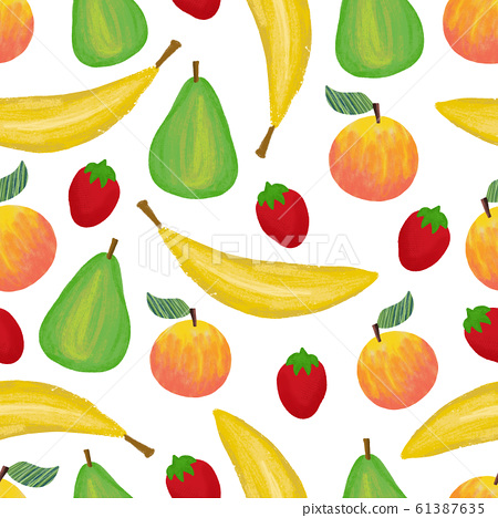 Banana strawberry apple pear peach seamless pattern design. Fruit mix repeating background. Hand 61387635