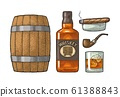 Whiskey glass with ice cubes, barrel, bottle and 61388843
