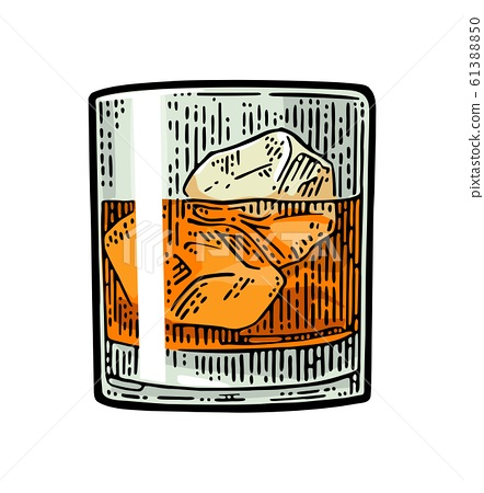 Ice Cubes Vector Vintage Color, Glass Ice Cubes Vector