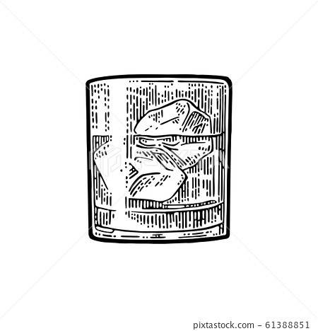 Ice Cubes Vector Vintage Black, Glass Ice Cubes Vector