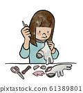 바느질을하는 여자 61389801