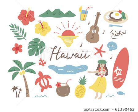 Hawaii hand drawn various 61390462