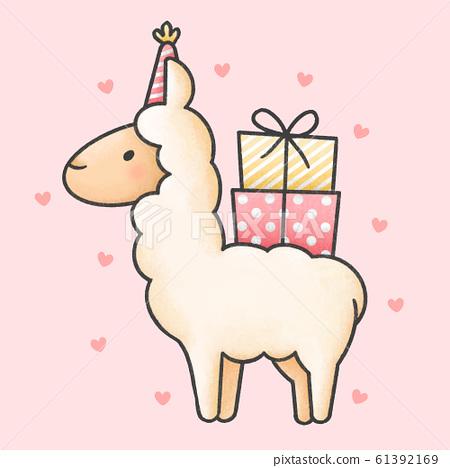Cute llama and gift boxes cartoon hand drawn style 61392169