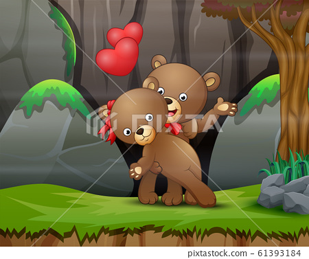 A couple teddy bear in the nature background 61393184