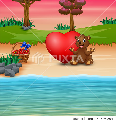 Funny baby bear on the seaside 61393204
