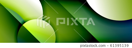 Dynamic trendy geometrical abstract background. Circles, round shapes 3d shadow effects and fluid gradients. Modern overlapping round forms 61395139