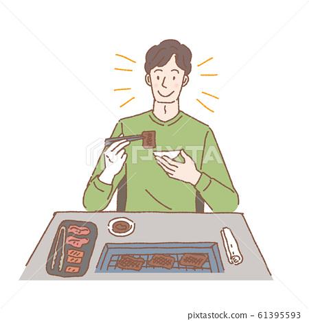 불고기를 먹는 남성 일러스트 61395593