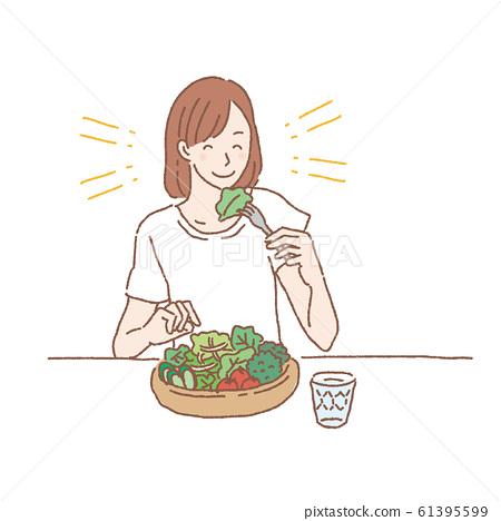 Woman eating salad illustration 61395599