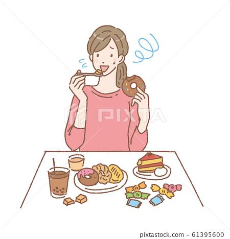 女人吃糖果圖 61395600