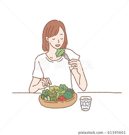 샐러드를 먹는 여자 일러스트 61395601