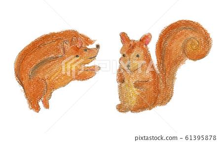 다람쥐 크레용 일러스트 61395878