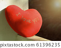 the red Love hearts and rose red on cement texture background. Valentines day concept. 61396235